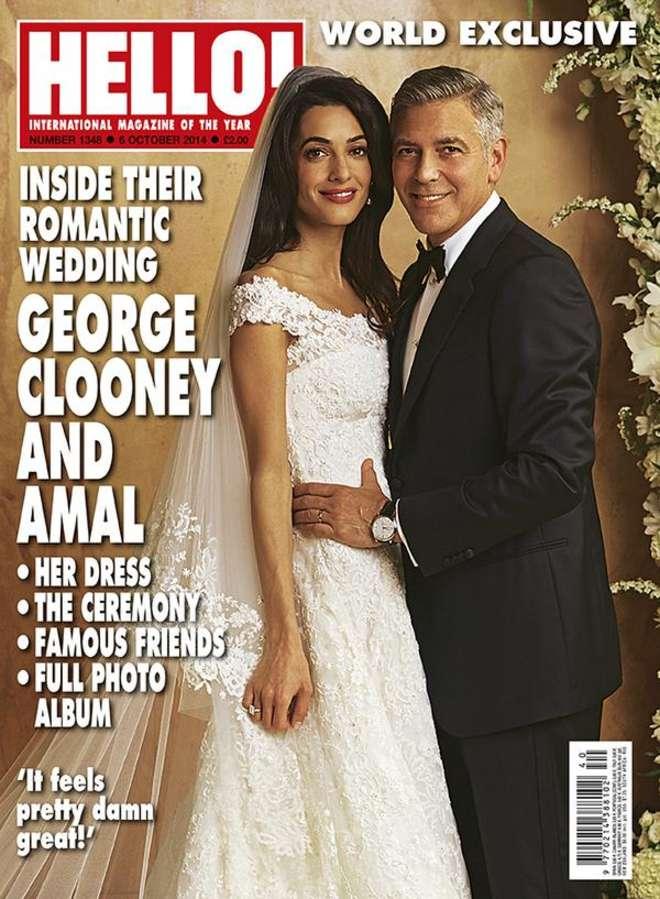"""Clooney a nozze, ecco l'abito da sposa di Amal. """"Fatto su misura da Oscar de la Renta"""""""